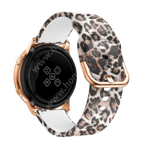 HUAWEI Honor MagicWatch 2 42mm Okosóra szíj - szilikon - LEOPÁRD MINTÁS - 98mm+135mm hosszú, 20mm széles, 150-200mm átmérőjű csuklóméretig - SAMSUNG Galaxy Watch 42mm / Xiaomi Amazfit GTS / SAMSUNG Gear S2 / HUAWEI Watch GT 2 42mm / Galaxy Watch Active / Active 2