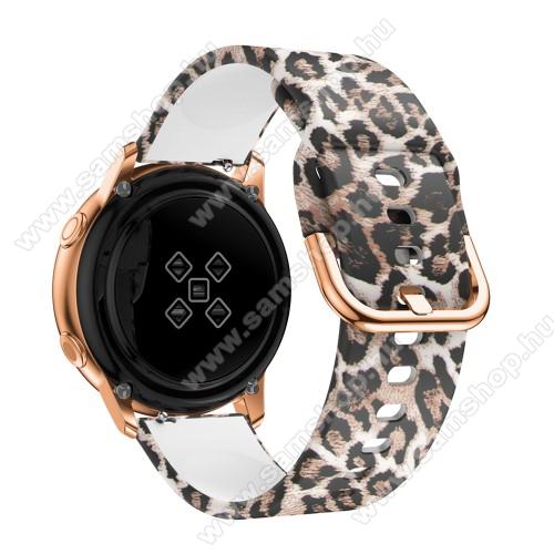 SAMSUNG Galaxy Gear Sport (SM-R600)Okosóra szíj - szilikon - LEOPÁRD MINTÁS - 98mm+135mm hosszú, 20mm széles, 150-200mm átmérőjű csuklóméretig - SAMSUNG Galaxy Watch 42mm / Xiaomi Amazfit GTS / SAMSUNG Gear S2 / HUAWEI Watch GT 2 42mm / Galaxy Watch Active / Active 2