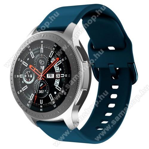 SAMSUNG Galaxy Watch3 45mm (SM-R845F)Okosóra szíj - szilikon - MATT TÜRKÍZKÉK - 116mm + 83mm hosszú, 22mm széles, 130mm-től 205mm-es méretű csuklóig ajánlott - SAMSUNG Galaxy Watch 46mm / SAMSUNG Gear S3 Classic / SAMSUNG Gear S3 Frontier