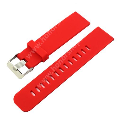 Okosóra szíj - szilikon - PIROS - 18mm széles - HUAWEI TalkBand B5 / Xiaomi Mi Watch (For China Market) / Fossil Gen 4 / Garmin Vivoactive 4s/ Fossil Q Tailor