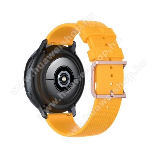 Okosóra szíj - szilikon, pontozott textúra mintás - CITROMSÁRGA - 128mm+91mm hosszú, 20mm széles, 140-220mm átmérőjű csuklóméretig - SAMSUNG Galaxy Watch 42mm / Amazfit GTS / Galaxy Watch3 41mm / HUAWEI Watch GT 2 42mm / Galaxy Watch Active / Active 2