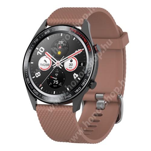 HUAWEI Honor MagicWatch 2 46mm Okosóra szíj - szilikon, rombusz mintás - BARNA - 218mm hosszú, 22mm széles - HUAWEI Watch GT / HUAWEI Watch Magic / MagicWatch 2 46mm / Watch GT 2 46mm