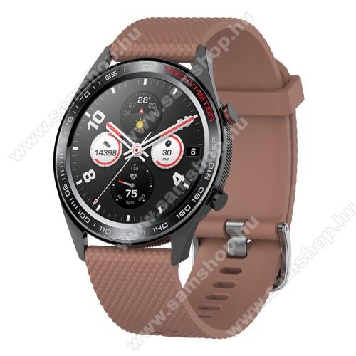 SAMSUNG Galaxy Watch3 45mm (SM-R845F)Okosóra szíj - szilikon, rombusz mintás - BARNA - 218mm hosszú, 22mm széles - HUAWEI Watch GT / HUAWEI Watch Magic / MagicWatch 2 46mm / Watch GT 2 46mm