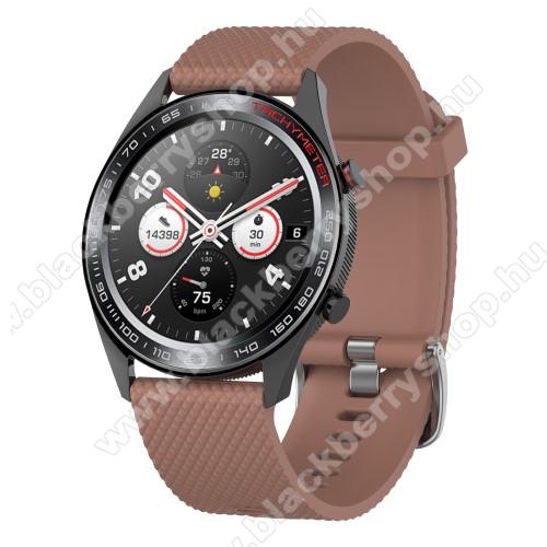 Okosóra szíj - szilikon, rombusz mintás - BARNA - 218mm hosszú, 22mm széles - HUAWEI Watch GT / HUAWEI Watch Magic / MagicWatch 2 46mm / Watch GT 2 46mm
