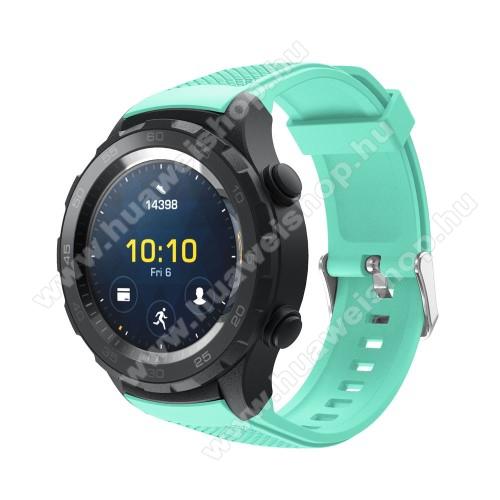 HUAWEI Watch 2Okosóra szíj - szilikon, rombusz mintás - CYAN - 140mm-től 215mm-es méretű csuklóig, 20mm széles - HUAWEI Watch 2