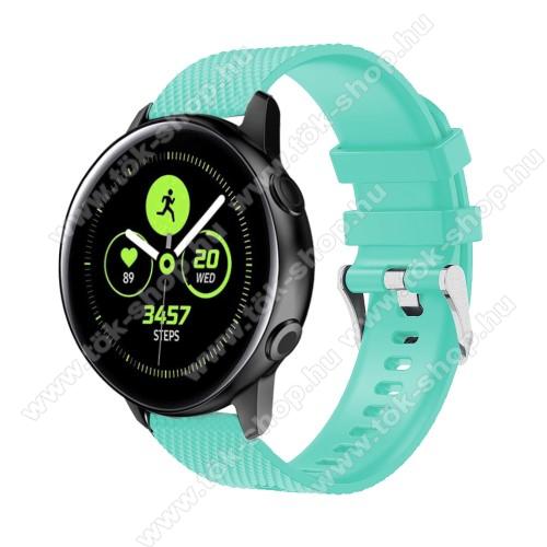 Okosóra szíj - szilikon, rombusz mintás - CYAN - 130mm-től 200mm-es méretű csuklóig ajánlott, 90mm + 105mm hosszú, 20mm széles - SAMSUNG SM-R500 Galaxy Watch Active / SAMSUNG Galaxy Watch Active2 40mm / SAMSUNG Galaxy Watch Active2 44mm