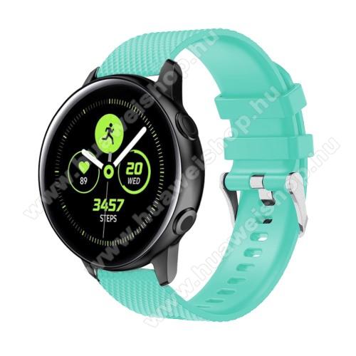 HUAWEI Watch GT 2 42mmOkosóra szíj - szilikon, rombusz mintás - CYAN - 130mm-től 200mm-es méretű csuklóig ajánlott, 90mm + 105mm hosszú, 20mm széles - SAMSUNG Galaxy Watch 42mm / Xiaomi Amazfit GTS / HUAWEI Watch GT / SAMSUNG Gear S2 / HUAWEI Watch GT 2 42mm / Galaxy Watch Act