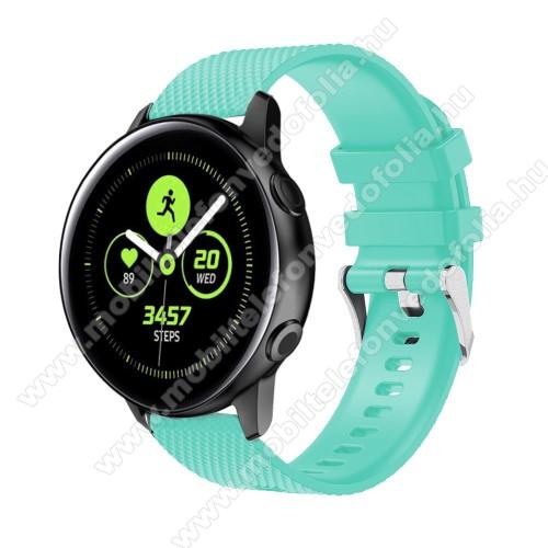 Garmin VenuOkosóra szíj - szilikon, rombusz mintás - CYAN - 130mm-től 200mm-es méretű csuklóig ajánlott, 90mm + 105mm hosszú, 20mm széles - SAMSUNG Galaxy Watch 42mm / Xiaomi Amazfit GTS / SAMSUNG Gear S2 / HUAWEI Watch GT 2 42mm / Galaxy Watch Active / Active 2