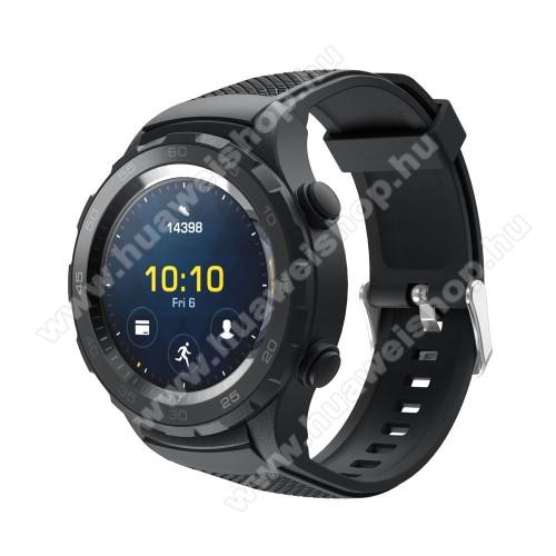 HUAWEI Watch 2Okosóra szíj - szilikon, rombusz mintás - FEKETE - 140mm-től 215mm-es méretű csuklóig, 20mm széles - HUAWEI Watch 2