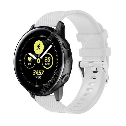 HUAWEI Watch GT 2 42mm Okosóra szíj - szilikon, rombusz mintás - FEHÉR - 130mm-től 200mm-es méretű csuklóig ajánlott, 90mm + 105mm hosszú, 20mm széles - SAMSUNG Galaxy Watch 42mm / Xiaomi Amazfit GTS / SAMSUNG Gear S2 / HUAWEI Watch GT 2 42mm / Galaxy Watch Active / Active 2