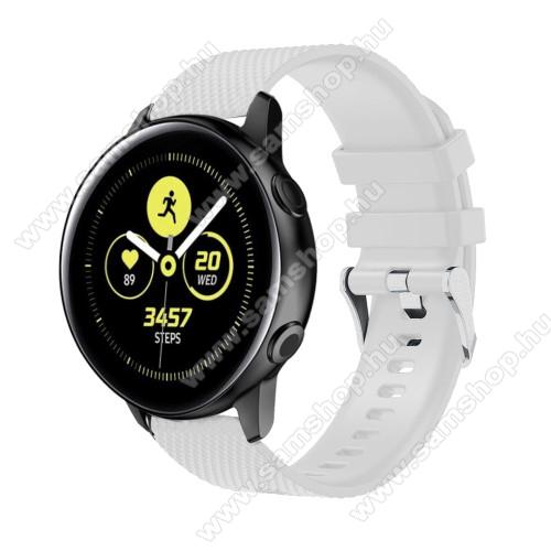 SAMSUNG Galaxy Watch 42mm (SM-R810NZ)Okosóra szíj - szilikon, rombusz mintás - FEHÉR - 130mm-től 200mm-es méretű csuklóig ajánlott, 90mm + 105mm hosszú, 20mm széles - SAMSUNG Galaxy Watch 42mm / Xiaomi Amazfit GTS / SAMSUNG Gear S2 / HUAWEI Watch GT 2 42mm / Galaxy Watch Active / Active 2
