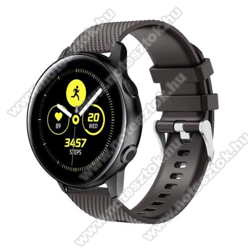 WOTCHI SmartWatch W22SOkosóra szíj - szilikon, rombusz mintás - FEKETE - 130mm-től 200mm-es méretű csuklóig ajánlott, 90mm + 105mm hosszú, 20mm széles - SAMSUNG Galaxy Watch 42mm / Xiaomi Amazfit GTS / SAMSUNG Gear S2 / HUAWEI Watch GT 2 42mm / Galaxy Watch Active / Active 2