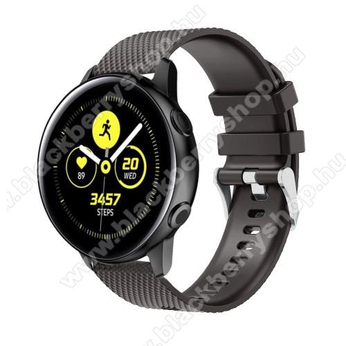 Okosóra szíj - szilikon, rombusz mintás - FEKETE - 130mm-től 200mm-es méretű csuklóig ajánlott, 90mm + 105mm hosszú, 20mm széles - SAMSUNG Galaxy Watch 42mm / Xiaomi Amazfit GTS / SAMSUNG Gear S2 / HUAWEI Watch GT 2 42mm / Galaxy Watch Active / Active 2