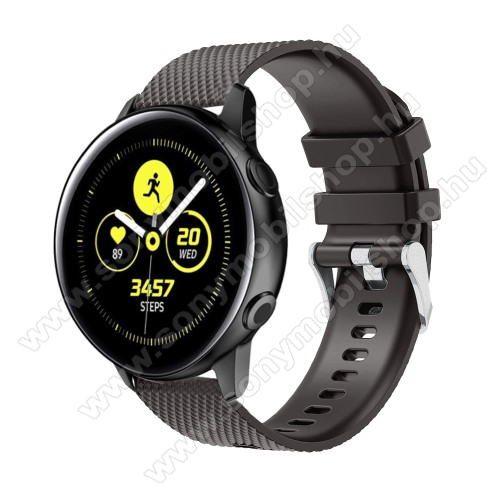 Okosóra szíj - szilikon, rombusz mintás - FEKETE - 130mm-től 200mm-es méretű csuklóig ajánlott, 90mm + 105mm hosszú, 20mm széles - SAMSUNG Galaxy Watch 42mm / Xiaomi Amazfit GTS / SAMSUNG Gear S2 / HUAWEI Watch GT 2 42mm / Galaxy Watch Active / Active 2
