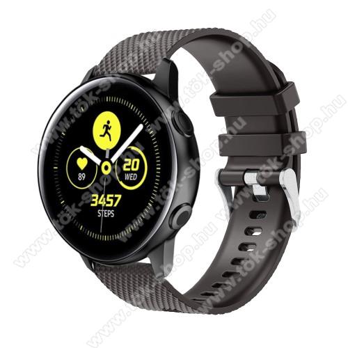 Okosóra szíj - szilikon, rombusz mintás - FEKETE - 130mm-től 200mm-es méretű csuklóig ajánlott, 90mm + 105mm hosszú, 20mm széles - SAMSUNG SM-R500 Galaxy Watch Active / SAMSUNG Galaxy Watch Active2 40mm / SAMSUNG Galaxy Watch Active2 44mm