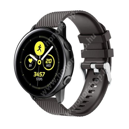 HUAWEI Honor MagicWatch 2 42mm Okosóra szíj - szilikon, rombusz mintás - FEKETE - 130mm-től 200mm-es méretű csuklóig ajánlott, 90mm + 105mm hosszú, 20mm széles - SAMSUNG Galaxy Watch 42mm / Xiaomi Amazfit GTS / SAMSUNG Gear S2 / HUAWEI Watch GT 2 42mm / Galaxy Watch Active / Active 2