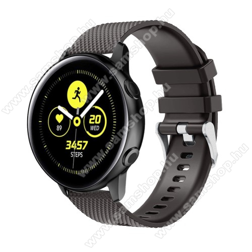 SAMSUNG Galaxy Watch 42mm (SM-R810NZ) Okosóra szíj - szilikon, rombusz mintás - FEKETE - 130mm-től 200mm-es méretű csuklóig ajánlott, 90mm + 105mm hosszú, 20mm széles - SAMSUNG Galaxy Watch 42mm / Xiaomi Amazfit GTS / SAMSUNG Gear S2 / HUAWEI Watch GT 2 42mm / Galaxy Watch Active / Active 2