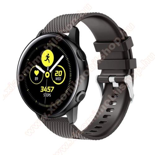 Xiaomi Amazfit GTSOkosóra szíj - szilikon, rombusz mintás - FEKETE - 130mm-től 200mm-es méretű csuklóig ajánlott, 90mm + 105mm hosszú, 20mm széles - SAMSUNG Galaxy Watch 42mm / Xiaomi Amazfit GTS / SAMSUNG Gear S2 / HUAWEI Watch GT 2 42mm / Galaxy Watch Active / Active 2