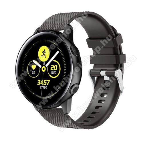 HUAWEI Honor MagicWatch 2 42mmOkosóra szíj - szilikon, rombusz mintás - FEKETE - 130mm-től 200mm-es méretű csuklóig ajánlott, 90mm + 105mm hosszú, 20mm széles - SAMSUNG Galaxy Watch 42mm / Xiaomi Amazfit GTS / SAMSUNG Gear S2 / HUAWEI Watch GT 2 42mm / Galaxy Watch Active / Active 2