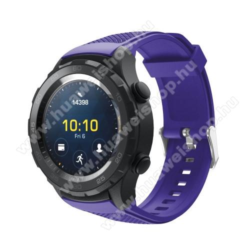 HUAWEI Watch 2Okosóra szíj - szilikon, rombusz mintás - LILA - 140mm-től 215mm-es méretű csuklóig, 20mm széles - HUAWEI Watch 2