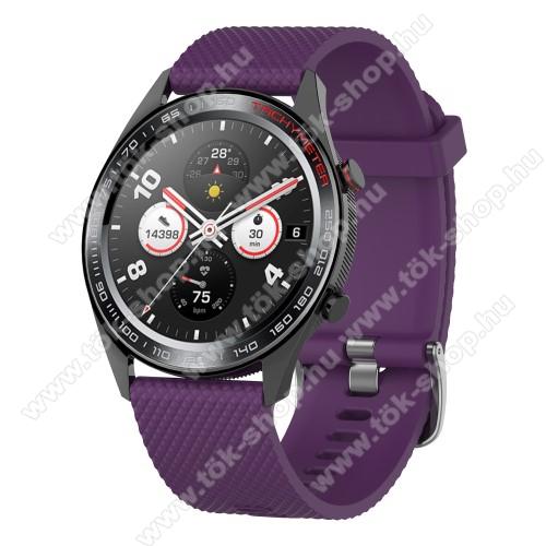 HUAWEI Honor MagicWatch 2 46mmOkosóra szíj - szilikon, rombusz mintás - LILA - 218mm hosszú, 22mm széles - HUAWEI Watch GT / HUAWEI Watch Magic / MagicWatch 2 46mm / Watch GT 2 46mm