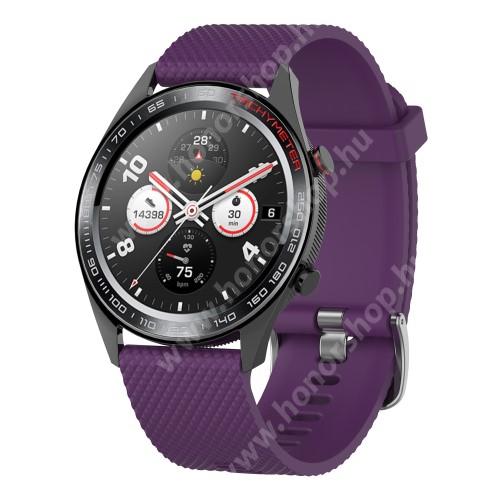 HUAWEI Honor MagicWatch 2 46mm Okosóra szíj - szilikon, rombusz mintás - LILA - 218mm hosszú, 22mm széles - HUAWEI Watch GT / HUAWEI Watch Magic / MagicWatch 2 46mm / Watch GT 2 46mm