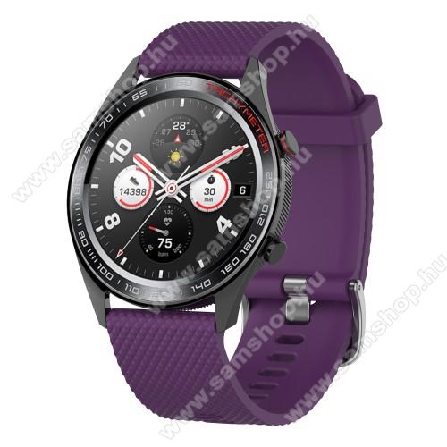 SAMSUNG Galaxy Watch3 45mm (SM-R845F)Okosóra szíj - szilikon, rombusz mintás - LILA - 218mm hosszú, 22mm széles - HUAWEI Watch GT / HUAWEI Watch Magic / MagicWatch 2 46mm / Watch GT 2 46mm