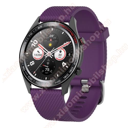 Xiaomi Amazfit 2Okosóra szíj - szilikon, rombusz mintás - LILA - 218mm hosszú, 22mm széles - HUAWEI Watch GT / HUAWEI Watch Magic / MagicWatch 2 46mm / Watch GT 2 46mm