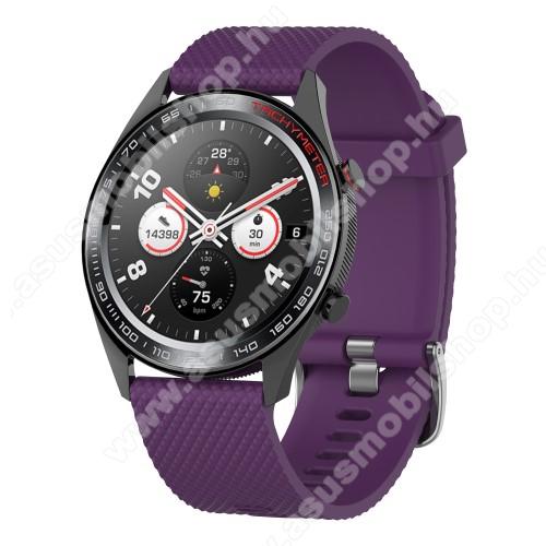 Okosóra szíj - szilikon, rombusz mintás - LILA - 218mm hosszú, 22mm széles - HUAWEI Watch GT / HUAWEI Watch Magic / MagicWatch 2 46mm / Watch GT 2 46mm