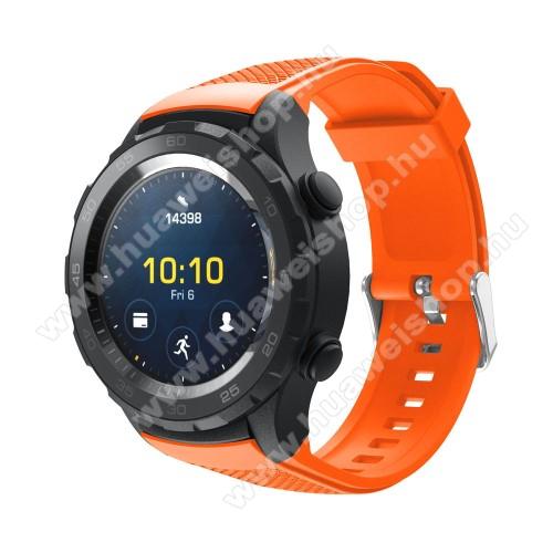 HUAWEI Watch 2Okosóra szíj - szilikon, rombusz mintás - NARANCS - 140mm-től 215mm-es méretű csuklóig, 20mm széles - HUAWEI Watch 2