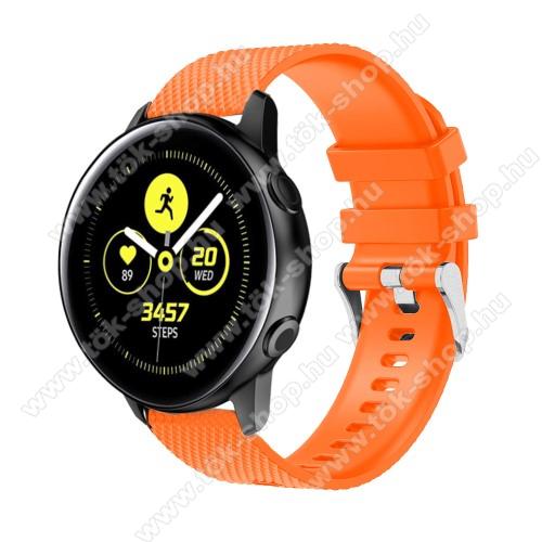 Okosóra szíj - szilikon, rombusz mintás - NARANCS - 130mm-től 200mm-es méretű csuklóig ajánlott, 90mm + 105mm hosszú, 20mm széles - SAMSUNG SM-R500 Galaxy Watch Active / SAMSUNG Galaxy Watch Active2 40mm / SAMSUNG Galaxy Watch Active2 44mm