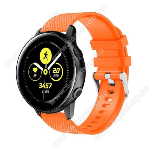 SAMSUNG SM-R720 Gear S2 ClassicOkosóra szíj - szilikon, rombusz mintás - NARANCS - 130mm-től 200mm-es méretű csuklóig ajánlott, 90mm + 105mm hosszú, 20mm széles - SAMSUNG Galaxy Watch 42mm / Xiaomi Amazfit GTS / SAMSUNG Gear S2 / HUAWEI Watch GT 2 42mm / Galaxy Watch Active / Active 2