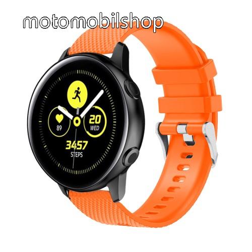 Okosóra szíj - szilikon, rombusz mintás - NARANCS - 130mm-től 200mm-es méretű csuklóig ajánlott, 90mm + 105mm hosszú, 20mm széles - SAMSUNG Galaxy Watch 42mm / Xiaomi Amazfit GTS / SAMSUNG Gear S2 / HUAWEI Watch GT 2 42mm / Galaxy Watch Active / Active 2