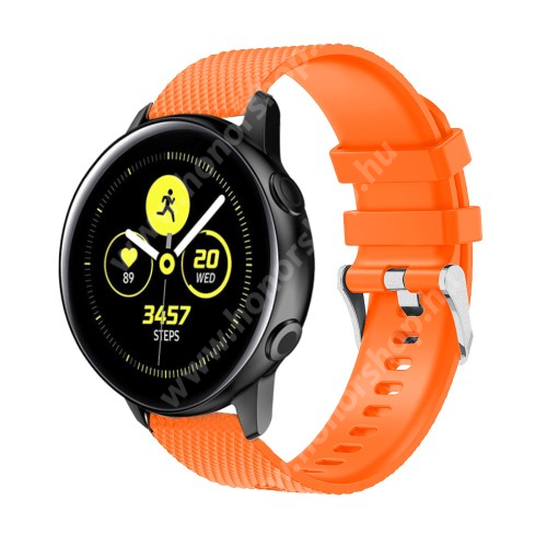 HUAWEI Honor MagicWatch 2 42mm Okosóra szíj - szilikon, rombusz mintás - NARANCS - 130mm-től 200mm-es méretű csuklóig ajánlott, 90mm + 105mm hosszú, 20mm széles - SAMSUNG Galaxy Watch 42mm / Xiaomi Amazfit GTS / SAMSUNG Gear S2 / HUAWEI Watch GT 2 42mm / Galaxy Watch Active / Active 2