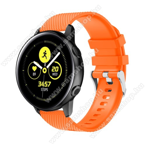 SAMSUNG Galaxy Watch 42mm (SM-R810NZ) Okosóra szíj - szilikon, rombusz mintás - NARANCS - 130mm-től 200mm-es méretű csuklóig ajánlott, 90mm + 105mm hosszú, 20mm széles - SAMSUNG Galaxy Watch 42mm / Xiaomi Amazfit GTS / SAMSUNG Gear S2 / HUAWEI Watch GT 2 42mm / Galaxy Watch Active / Active 2