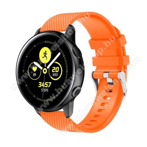 HUAWEI Honor MagicWatch 2 42mmOkosóra szíj - szilikon, rombusz mintás - NARANCS - 130mm-től 200mm-es méretű csuklóig ajánlott, 90mm + 105mm hosszú, 20mm széles - SAMSUNG Galaxy Watch 42mm / Xiaomi Amazfit GTS / SAMSUNG Gear S2 / HUAWEI Watch GT 2 42mm / Galaxy Watch Active / Active 2