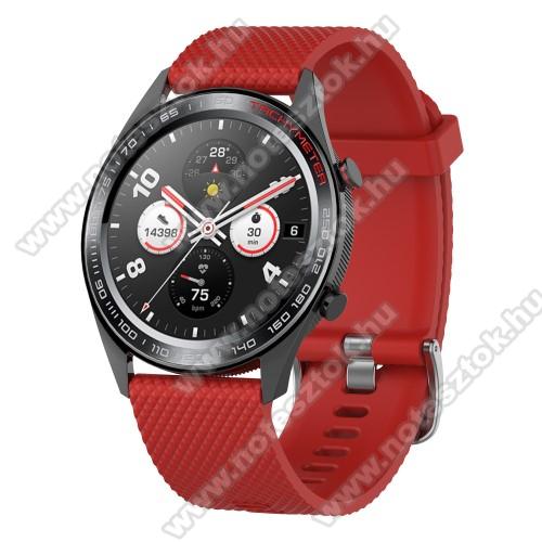 HUAWEI Honor MagicWatch 2 46mmOkosóra szíj - szilikon, rombusz mintás - PIROS - 218mm hosszú, 22mm széles - HUAWEI Watch GT / HUAWEI Watch Magic / MagicWatch 2 46mm / Watch GT 2 46mm