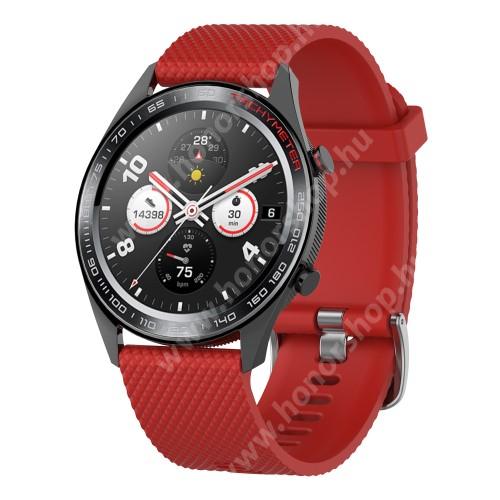 HUAWEI Honor MagicWatch 2 46mm Okosóra szíj - szilikon, rombusz mintás - PIROS - 218mm hosszú, 22mm széles - HUAWEI Watch GT / HUAWEI Watch Magic / MagicWatch 2 46mm / Watch GT 2 46mm