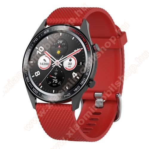 Xiaomi Amazfit GTR 2 47mmOkosóra szíj - szilikon, rombusz mintás - PIROS - 218mm hosszú, 22mm széles - HUAWEI Watch GT / HUAWEI Watch Magic / MagicWatch 2 46mm / Watch GT 2 46mm