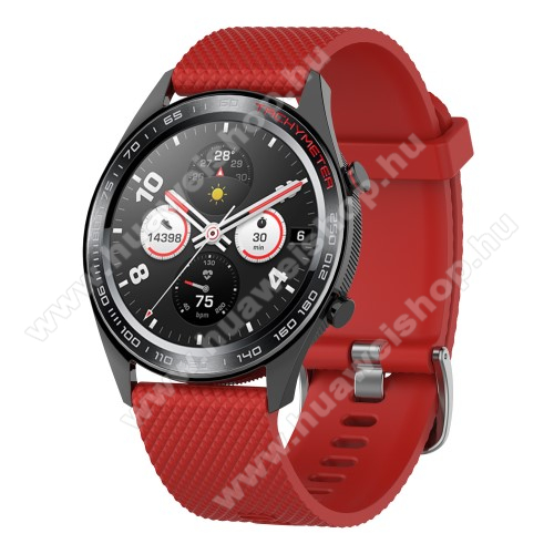 HUAWEI Watch GT 2eOkosóra szíj - szilikon, rombusz mintás - PIROS - 218mm hosszú, 22mm széles - HUAWEI Watch GT / HUAWEI Watch Magic / MagicWatch 2 46mm / Watch GT 2 46mm