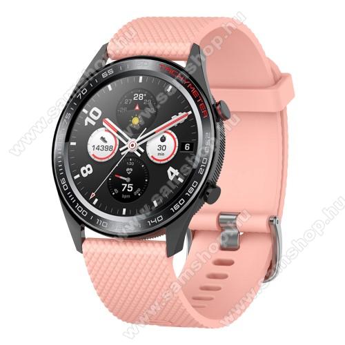 SAMSUNG SM-R770 Gear S3 ClassicOkosóra szíj - szilikon, rombusz mintás - RÓZSASZÍN - 218mm hosszú, 22mm széles - HUAWEI Watch GT / HUAWEI Watch Magic / MagicWatch 2 46mm / Watch GT 2 46mm