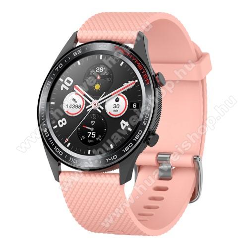 HUAWEI Watch MagicOkosóra szíj - szilikon, rombusz mintás - RÓZSASZÍN - 218mm hosszú, 22mm széles - HUAWEI Watch GT / HUAWEI Watch Magic / MagicWatch 2 46mm / Watch GT 2 46mm