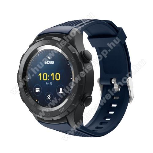 HUAWEI Watch 2Okosóra szíj - szilikon, rombusz mintás - SÖTÉTKÉK - 140mm-től 215mm-es méretű csuklóig, 20mm széles - HUAWEI Watch 2