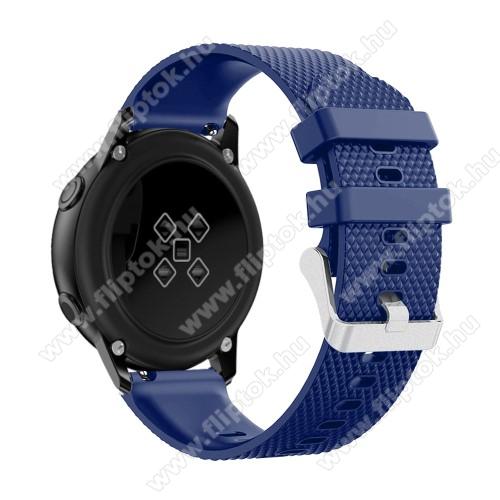 EVOLVEO SPORTWATCH M1SOkosóra szíj - szilikon, rombusz mintás - SÖTÉTKÉK - 130mm-től 200mm-es méretű csuklóig ajánlott, 90mm + 105mm hosszú, 20mm széles - SAMSUNG Galaxy Watch 42mm / Xiaomi Amazfit GTS / SAMSUNG Gear S2 / HUAWEI Watch GT 2 42mm / Galaxy Watch Active / Active 2