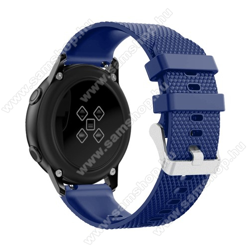 SAMSUNG Galaxy Watch Active2 44mmOkosóra szíj - szilikon, rombusz mintás - SÖTÉTKÉK - 130mm-től 200mm-es méretű csuklóig ajánlott, 90mm + 105mm hosszú, 20mm széles - SAMSUNG Galaxy Watch 42mm / Xiaomi Amazfit GTS / SAMSUNG Gear S2 / HUAWEI Watch GT 2 42mm / Galaxy Watch Active / Active 2