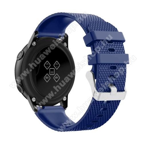 HUAWEI Honor MagicWatch 2 42mmOkosóra szíj - szilikon, rombusz mintás - SÖTÉTKÉK - 130mm-től 200mm-es méretű csuklóig ajánlott, 90mm + 105mm hosszú, 20mm széles - SAMSUNG Galaxy Watch 42mm / Xiaomi Amazfit GTS / SAMSUNG Gear S2 / HUAWEI Watch GT 2 42mm / Galaxy Watch Active / Active 2