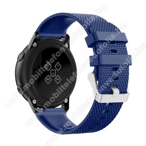 Xiaomi 70mai SaphirOkosóra szíj - szilikon, rombusz mintás - SÖTÉTKÉK - 130mm-től 200mm-es méretű csuklóig ajánlott, 90mm + 105mm hosszú, 20mm széles - SAMSUNG Galaxy Watch 42mm / Xiaomi Amazfit GTS / SAMSUNG Gear S2 / HUAWEI Watch GT 2 42mm / Galaxy Watch Active / Active 2