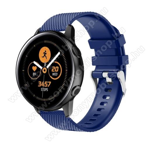 Okosóra szíj - szilikon, rombusz mintás - SÖTÉTKÉK - 130mm-től 200mm-es méretű csuklóig ajánlott, 90mm + 105mm hosszú, 20mm széles - SAMSUNG Galaxy Watch 42mm / Xiaomi Amazfit GTS / SAMSUNG Gear S2 / HUAWEI Watch GT 2 42mm / Galaxy Watch Active / Active 2