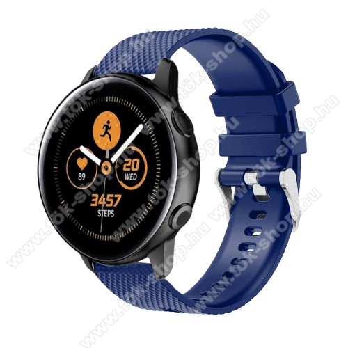 HUAWEI MagicWatch 2 42mmOkosóra szíj - szilikon, rombusz mintás - SÖTÉTKÉK - 130mm-től 200mm-es méretű csuklóig ajánlott, 90mm + 105mm hosszú, 20mm széles - SAMSUNG Galaxy Watch 42mm / Xiaomi Amazfit GTS / HUAWEI Watch GT / SAMSUNG Gear S2 / HUAWEI Watch GT 2 42mm / Galaxy Watch