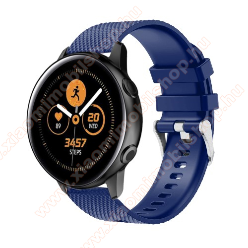 Xiaomi Amazfit GTR 42mm Okosóra szíj - szilikon, rombusz mintás - SÖTÉTKÉK - 130mm-től 200mm-es méretű csuklóig ajánlott, 90mm + 105mm hosszú, 20mm széles - SAMSUNG Galaxy Watch 42mm / Xiaomi Amazfit GTS / SAMSUNG Gear S2 / HUAWEI Watch GT 2 42mm / Galaxy Watch Active / Active 2